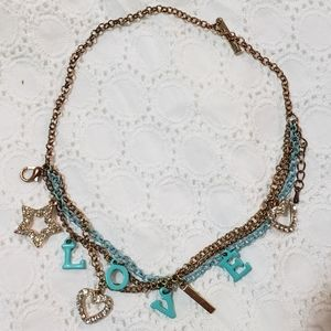 Gold Turquoise Love Charm Heart Stacked Necklace